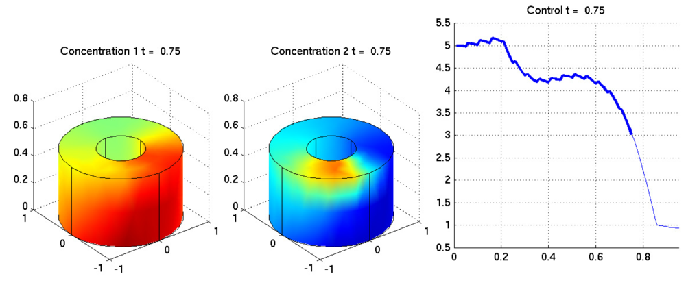In this project we want to develop numerical algorithms of optimal control problems for instationary convection-diffusion and diffusion-reaction equations by using methods of state and output feedback. Linear problems with quadratic cost functional can be interpreted as a linear-quadratic regulator (LQR) problem. For the solutions of LQR problems new efficient methods were developed where Peter Benner was involved. These methods are coupled with solvers for the underlying stationary forward problem by appropriate interfaces.  We obtain nonlinear problems if nonlinear differential operators or nonlinear boundary conditions occur. The solution of nonlinear problems can be found by solving a class of optimal control problems which are called tracking-problems by means of state or output feedback. Since in general the optimal control cannot be computed directly or with untenable effort as done in the lineare case we will use sub-optimal strategies. We will focus on the development of numerical methods for the application of Model Predictive Control (MPC) for 2D and 3D problems. In doing so the whole time horizon will be covered by shorter time frames at which a sub-problem is solved by using an LQR or LQG design. The LQR and LQG designs for the parabolic problems arising after linearization can be solved by the numerical methods mentioned above.