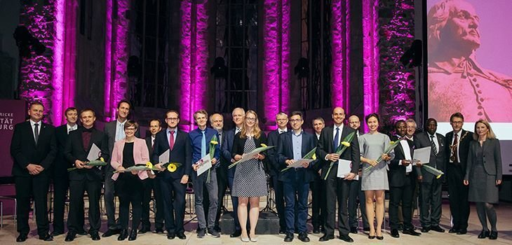 Dr.-Ing. Robert Dürr, 3rd from left, among all prize winners honoured by the Otto von Guericke University Magdeburg, during the Academic Ceremony on November 23rd, 2017 in the Johanniskirche Magdeburg.